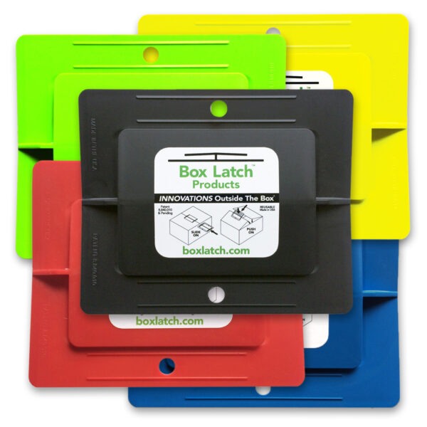 Box Latch - No Tape needed. Color pack. Large - green, yellow, red, blue, black.