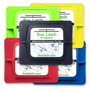 Box Latch - No Tape needed. Color pack. Medium - green, yellow, red, blue, black.