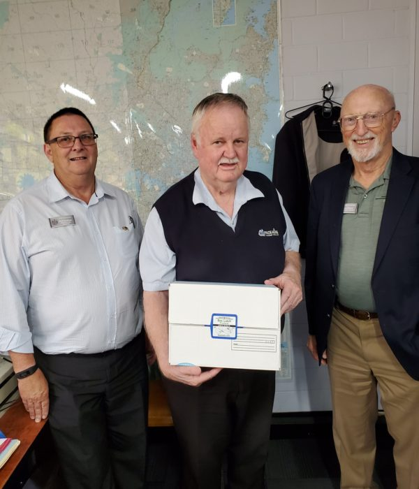 Phil Southam, Box Latch™ products Australian Associate from Adelaide, AU, Neil Barry General Mgr of Auspackaging, 1st Distributor AU, Jim Wilson, Box Latch™ CEO