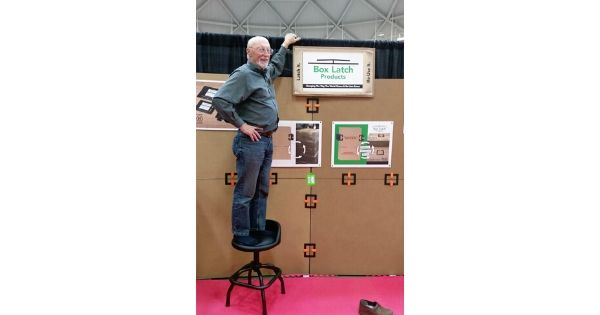 Jim, Helping Jack Build A Booth Out Of Box Latches™ At MinnPack Trade Show, October 2019