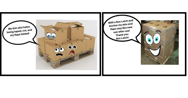 Box Latch - Closing boxes without tape, comic strip.
