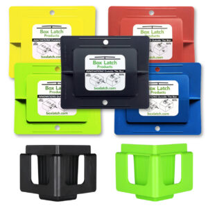 Box Latch - Closing boxes without tape. ISO business pack. Large - green, yellow, red, blue, black. Clip and stack - black, green.