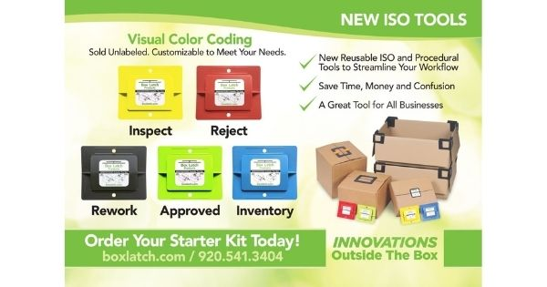 Box Latch - Closing boxes without tape. Color coding. ISO Tools postcard.
