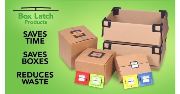 Box Latch - Closing boxes without tape. Saves time. Saves Boxes. Reduces waste.