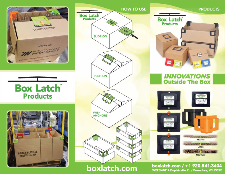 Box Latch Trifold Brochure electronic version - front