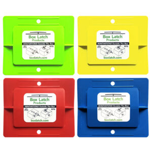 Box Latch - Closing boxes without tape. Large - green, yellow, red, blue.