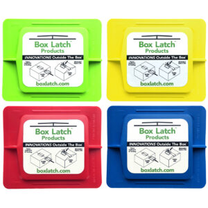Box Latch - Closing boxes without tape. Medium - green, yellow, red, blue.