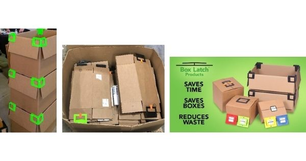 Box Latch - clip and stack, folded boxes, saves time, saves boxes, reduces waste.
